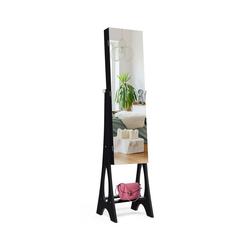 COSTWAY Schmuckschrank Spiegelschrank mit 12 LEDs freistehend und Ganzkörperspiegel schwarz