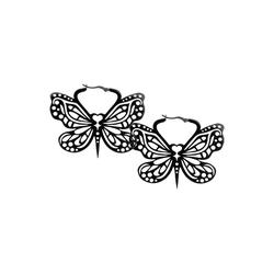 Wildcat Paar Ohrhänger Ohrringe Black Bohemian Butterfly Hoops