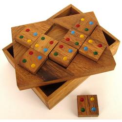 Logoplay Holzspiele Spiel, Farbenpuzzle - Domino-Puzzle - Legespiel - Denkspiel - Knobelspiel - Geduldspiel - Logikspiel aus Holz Holzspielzeug
