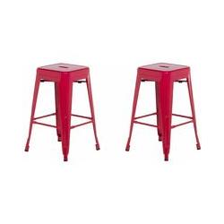 Moderne und praktische Hocker 2er Set rot Cabrillo