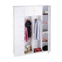 relaxdays Kleiderschrank transparent / weiß 14 Fachböden