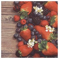 Linoows Papierserviette 20 Servietten, Beerencocktail mit Erdbeeren und, Motiv Beerencocktail mit Erdbeeren und Blaubeeren