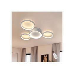 ZMH LED Deckenleuchte Deckenlampe Modern 4 Flammig in Ring-Design dimmbar mit Fernbedienung 52W für Schlafzimmer Wohnzimmer Flur Büro Arbeitszimmer weiß
