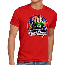 style3 Print-Shirt Herren T-Shirt Fun wih Flags sheldon flagge fahne banner amy rot M