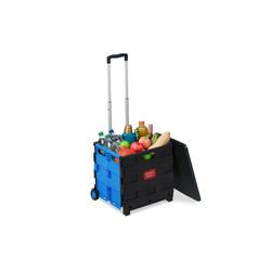 relaxdays Einkaufstrolley Klappbarer Einkaufstrolley blau 37.5 cm x 99 cm x 45.5 cm