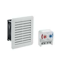 ARLI Gehäuselüfter ARLI Schaltschrank Lüfter mit Filtermatte + Thermostat 2 fach warm/kalt 0-60°C Set 16 cm x 16 cm x 3.1 cm