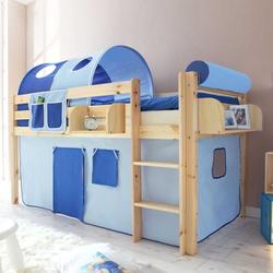 Kinderhochbett mit Regal Vorhang