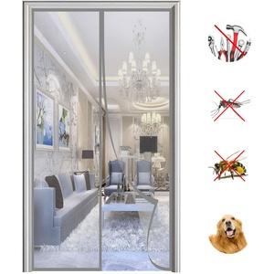 Magnet Fliegengitter Tür Automatisches Schließen Magnetische Adsorption Moskitonetz Tür, für Balkontür Wohnzimmer Terrassentür-Gray|| 85x215cm(33x84inch)