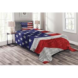 Tagesdecke Set mit Kissenbezügen Waschbar, Abakuhaus, Patriotisch America Patriotic Day 170 cm x 220 cm