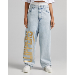 Bershka Jeans Extreme Baggy Print Clippers Nba + Bershka Mujer 40 Azul Lavado
