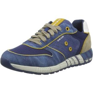 Geox Jungen J ALBEN Boy B Sneaker, Blau (Avio/Beige C4289), 33 EU