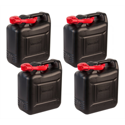BigDean Kanister 4x 10 Liter Benzinkanister Kunststoff − Schwarz, rot − Reservekanister Dieselkanister 10l