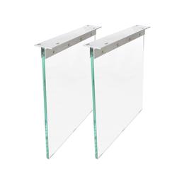 DELIFE Esstisch Live-Edge, Glas 60x2 cm Tischbeine Gestell weiß 60 cm x 71 cm x 2 cm