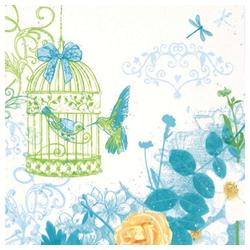 Linoows Papierserviette 20 Servietten, Landhaus Aquarell mit Vogelkäfig, Motiv Landhaus Aquarell mit Vogelkäfig und Rosen