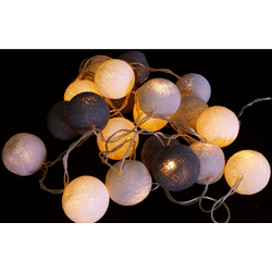 Guru-Shop LED-Lichterkette Stoff Ball Batterielichterkette 3xAA LED Kugel..