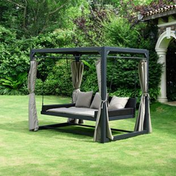 Home Deluxe Pavillon Provence mit Bett in Rattan-Optik