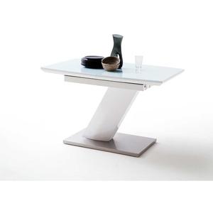 Design Esstisch mit Säulengestell Weiß Hochglanz