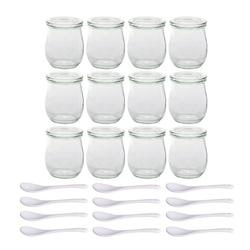 BigDean Geschirr-Set 24−tlg Servierset, 12 Weck Gläser mit Deckel 220ml + 12 Porzellan−Löffel (12-tlg)