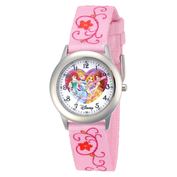 Girls' Disney Princess Ariel, Cinderella, Rapunzel, and Belle Stainless Steel Time Teacher Watch - Pink