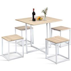 COSTWAY Essgruppe Essgruppe, (Set, 5-tlg), Küchentisch und 4 Stühle