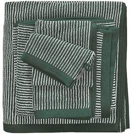 Marc O'Polo Timeless Tone Stripe Waschhandschuh 16 x 22 cm pine green/off white