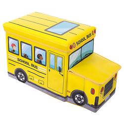 Aufbewahrungsbox mit Deckel faltbar Sitzhocker und Polsterung Spielzeugkiste 46L Aufbewahrungsboxen gelb