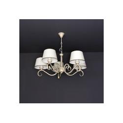 Licht-Erlebnisse Kronleuchter LORE Weißer Kronleuchter Shabby Chic mit Schirm Schlafzimmer Wohnzimmer Lampe