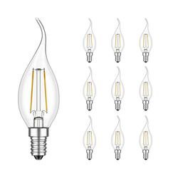 E14 LED Kerze mit Flamme Filament 1,9W =21W 190lm weiß für innen und außen, 10 Stk.