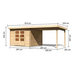 Karibu-Blockbohlenhaus »Baltasar 5«, mit Anbau