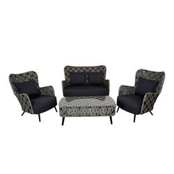 Lounge-Set aus Polyrattangeflecht in schwarz/weiß und Kissen in schwarz, 2 Loungestühle, Loungebank und Loungetisch