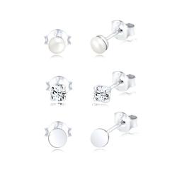 Elli Ohrring-Set Set Geo Perle Kristalle 925 Silber, Geo