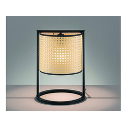FISCHER & HONSEL LED Tischleuchte, Nacht-Tischlampe mit Rattan Lampen-Schirm, Vintage Korb-Lampe modern, Rattanlampe fürs Wohnzimmer & Nachtischlampe Schlafzimmer