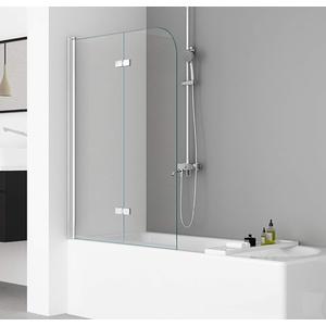 IMPTS 100x140cm Duschwand für Badewanne 2 TLG. Faltwand Duschtrennwand Badewannenaufsatz Duschabtrennung mit 6mm Nano Glas