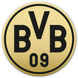 Alu-Dibond mit Goldeffekt BVB Logo gold