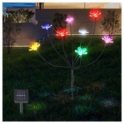 etc-shop Dekolicht, Solarlampen für Außen Gartendeko Solarleuchte Outdoor Solar Lampe mit bunte Blumen, 8 Blüten, 8x LED, H 62 cm