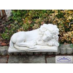 SA-N910 Gartenfigur kleiner Löwe liegend liegende Löwenfigur 45cm 18kg (Farbe: weiss)