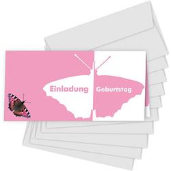 Einladungskarten kleiner Schmetterling, 10 Stück inkl. Umschläge rosa