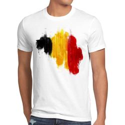 style3 Print-Shirt Herren T-Shirt Flagge Belgien Fußball Sport Belgium WM EM Fahne weiß XXL