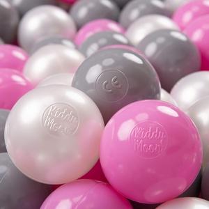 KiddyMoon 300 ∅ 7Cm Kinder Bälle Spielbälle Für Bällebad Baby Plastikbälle Made In EU, Perle/Grau/Pink