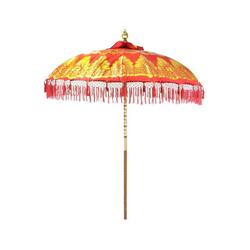 Oriental Galerie Sonnenschirm Bali-Sonnenschirm Rot Gold Doppelte Bemalung mit Fransen, Handarbeit