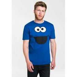 LOGOSHIRT T-Shirt mit süßem Print Krümelmonster - Cookie Monster blau XL