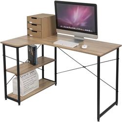 Woltu Schreibtisch, Schreibtisch mit Bücherregal in L-Form 120x74cm