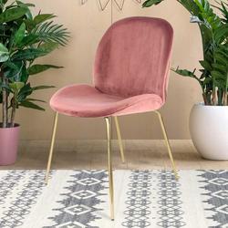 Esstisch Stühle in Altrosa Samt modern (2er Set)