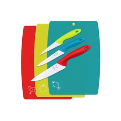Wellgro Schneidbrett 3-tlg. Schneidebretter Set inkl. 3 Messer - blau, rot, grün - Kunststoff/Metall - Küchenbrett - Frühstücksbrett - antibakterielle Küchenbretter