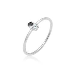Elli Diamantring Bi-Color Schwarzer Diamant (0.06 ct) 925 Silber 58 mm
