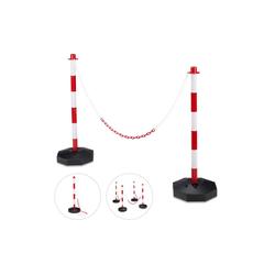 relaxdays Zaunpfosten Absperrpfosten Kunststoff mit Kette 28 cm x 82 cm x 56 cm