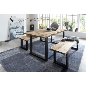 Junado® Essgruppe Quinn, 3-teilig mit Tisch Baumkante und 2x Holzbank beige