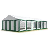 TOOLPORT Partyzelt 6 x 12 m inkl. Seitenteile grün/weiß (6052)
