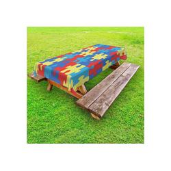 Abakuhaus Tischdecke dekorative waschbare Picknick-Tischdecke, Autismus Layout von Puzzles 145 cm x 305 cm