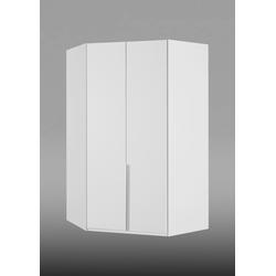 2-trg. Eckkleiderschrank in alpinweiß mit 8 Einlegeböden und 1 Kleiderstange, Maße: B/H/T ca. 120/208/120 cm
